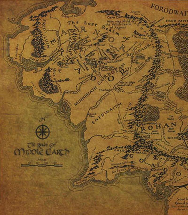 1PC magiczny pierścień papier pakowy Vintage mapa Hobbit z ziemi środkowej plakaty filmowe starożytne sposoby mapa ozdoby papieru Kraft