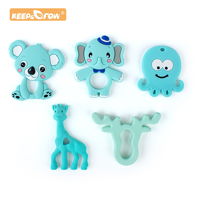 Keep&Grow Silicone Teether Cartoon Baby Teether Food Grade BPA Free Baby Teething Chew Charms Accessories Silicone Bead Toy Gift