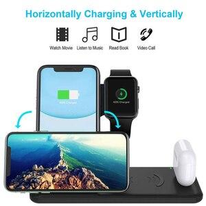 Image 5 - Беспроводное зарядное устройство 15 Вт 4 в 1, базовая док станция для iPhone 11 Pro Max XS XR 8 Apple Watch 5 4 3 2 AirPods 3 2 1, зарядная подставка