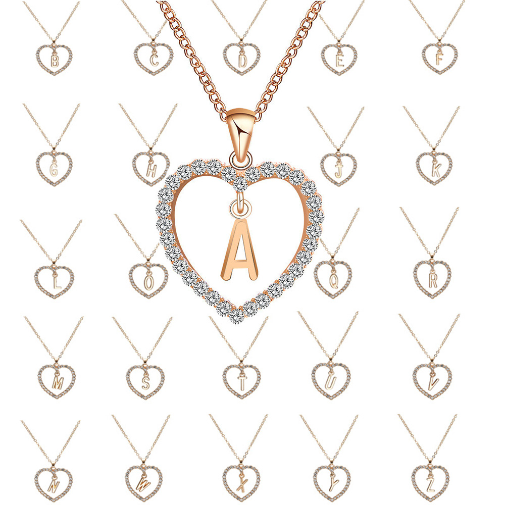 Trend Romantic Initial Letter Necklace Love Heart Pendant Necklace for Girls Women Alphabet Gold Crystal Trendy Necklace Jewelry
