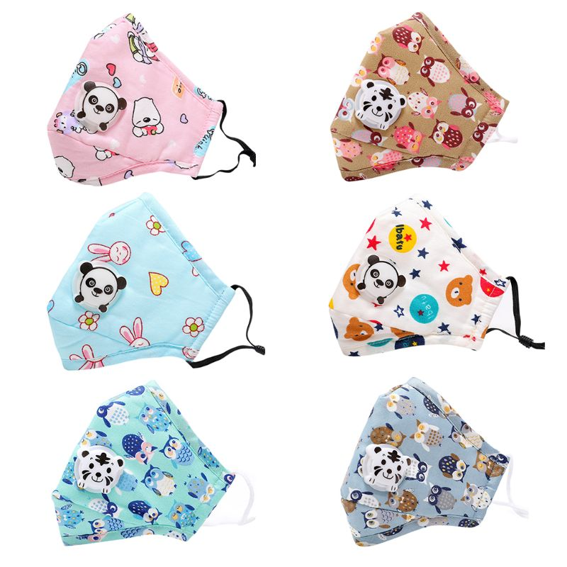 Winter Children Kids Anti-Dust Cotton PM2.5 Face Mouth Mask Colorful Cartoon Bear Rabbit Printing Adjustable Respirator With Air Filter Breath Valve