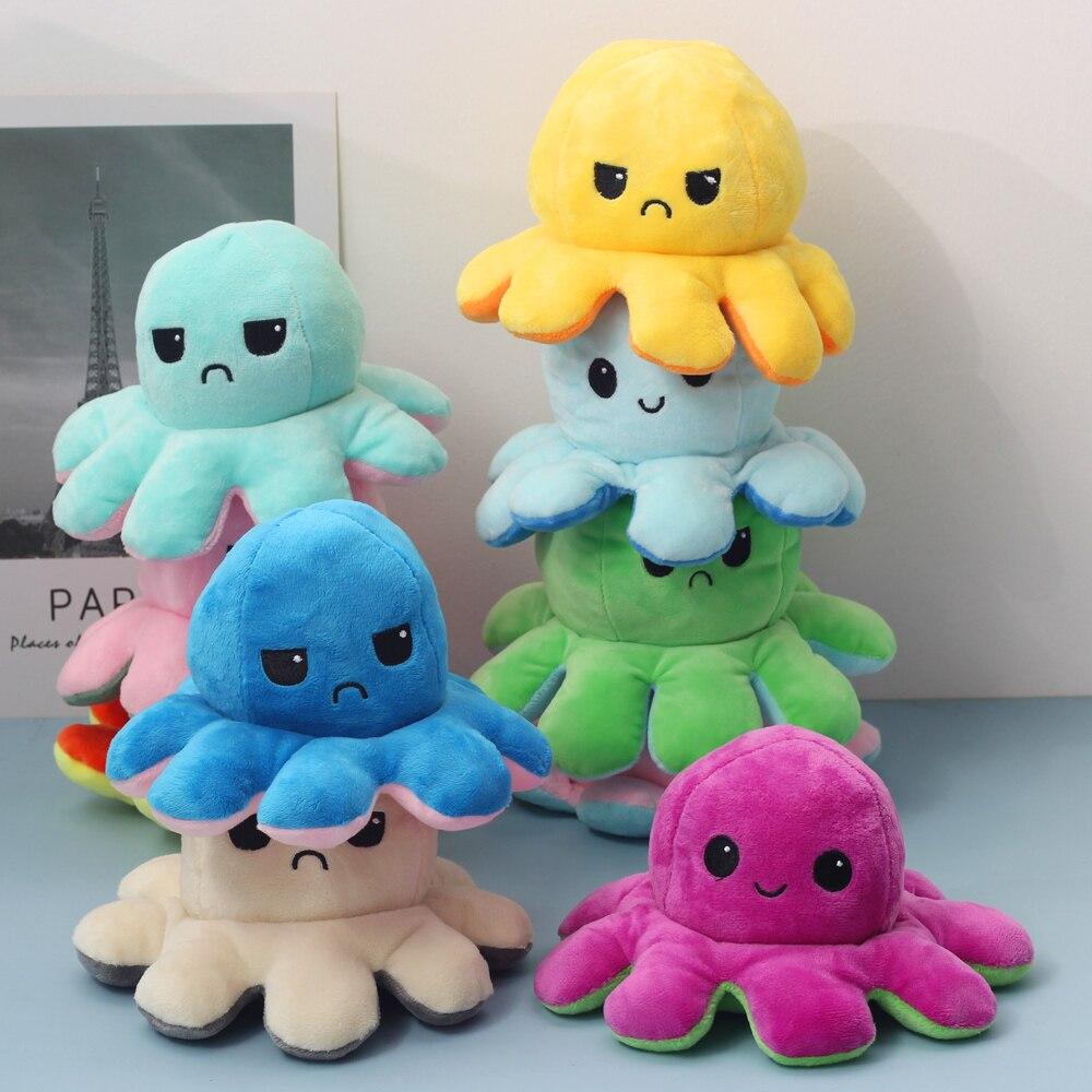 Мягкая игрушка-Осьминог для детей, двусторонняя плюшевая игрушка-осьминог, флип-кукла, милые игрушки, цветная глава, плюшевая кукла
