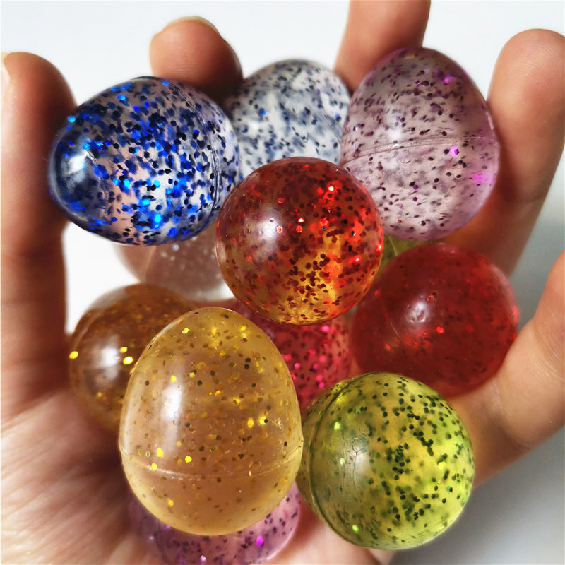 10pcs 3CM Shine Sequins Eggs Rubber Bouncing Balls Chidlren Floating Bouncy Jumping Juggling Sports Games Toy Balls For Kids