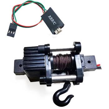 Elektryczne automatyczne Winch + 4CH przewód sterowniczy dla 1 16 WPL B14 B24 B36 C34 C44 MN90 Q65 akcesoria samochodowe RC zabawki tanie i dobre opinie NONE Metal CN (pochodzenie)