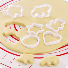 6PC Plastic Cookie Sugar Crafts Mold Cartoon Animal Cake Moulds Pineapple Biscuit Cutters Cake Kitchen Baking Mould