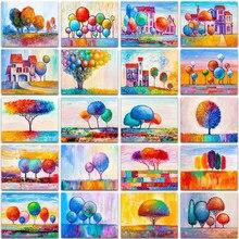 Peinture de diamant 5D, broderie de paysage coloré, maison d'arbre, ballon arc-en-ciel, mosaïque en point de croix, décor de maison