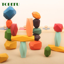 Rainbow Wooden Jenga Nordic-Style Toy Building-Block Educational-Toy Stacking-Game Gift