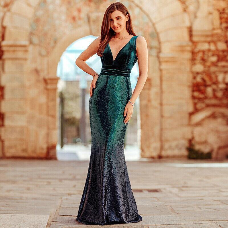 Linglewei New Spring and Summer Women's Dress sexy V-neck Sequin waist long dress