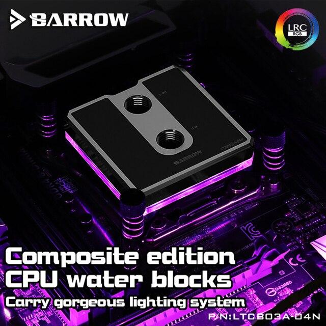 Barrow LTCP03A 04N, Per Ryzen AM3/AM4 Composito CPU Blocchi di Acqua, vestiti da POM/barss Top Opzionale, LRC 2.0 5v 3pin, Microwaterway Blocco