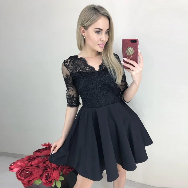 Sexy Lace Patchwork Club Women Dress o-Neck Short Sleeves Mini Dress Summer Spring Hot Sale Girl 2020 Fashion Style Vintage