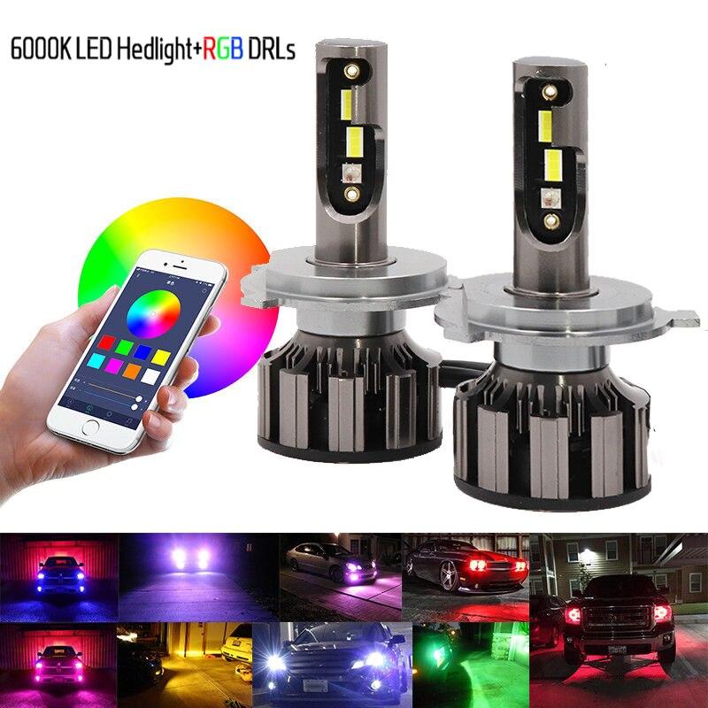 Пара H7 RGB светодиодный налобный фонарь H1 приложение Bluetooth управление H3 H4 H8 H11 многоцветный светодиодный фонарь 9005 9006 для Camry Ford BMW