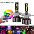 Пара светодиодных фар H7 RGB с Bluetooth управлением H1 H3 H4 H8 H11, многоцветные светодиодные лампы 9005 9006 для Camry Ford BMW