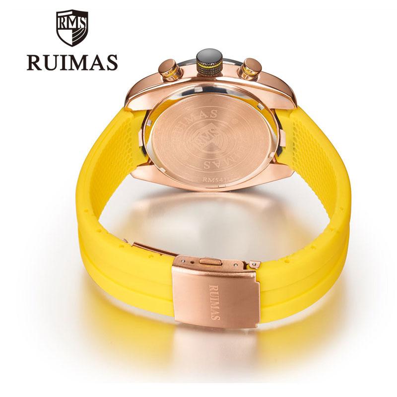 RUIMAS Men Watch Top Luxury Brand Yellow Mens Quartz Sports Fashion Watches Chronograph Military Clock Man Waterproof WristWatch in Quartz Watches from Watches