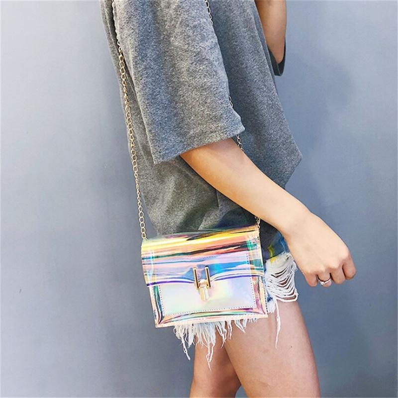 mochilas mujer 2019 coreanas láser transparente bolsos bandolera verano bolsos mensajero PVC impermeable playa bolsos