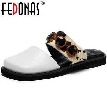 FEDONAS Rhinestone Genuine Leather Ladies Slippers 2020 Spring Summer Square Toe Platforms Flats Slingbacks Casual Shoes Woman
