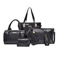 6 unids/set de bolsos de mensajero para mujer, bolso de hombro clásico de cuero PU, bolsa cruzada, bolso de mano de lujo de cuero