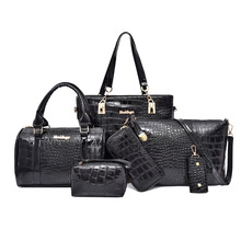 6pcs/set Women messenger Bags Fashion PU Leather Vintage Shoulder bag cross body bag Tote Cool Bag Leather Women Luxury Handbags