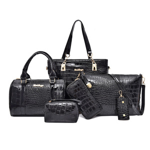 Image 1 - 6pcs/set Women messenger Bags Fashion PU Leather Vintage Shoulder bag cross body bag Tote Cool Bag Leather Women Luxury Handbags
