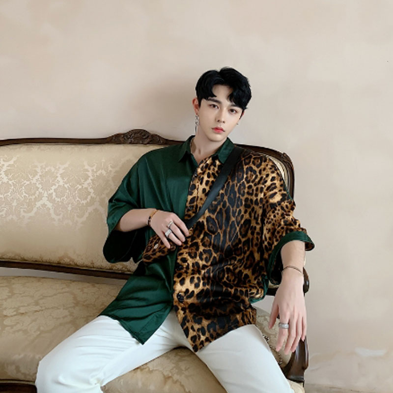 2019 Summer Vintage Leopard Patchwork Oversize Men Shirts With Small Bag Nightclub DJ Singer Punk Silk Shirt Stage Costume