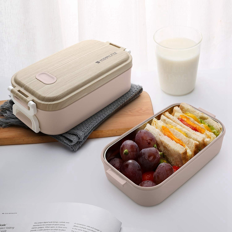 Lunch Box with Stainless Steel Container Lunch Box with 3 Subdivisions for School Work Picnic Travel on the Go Pink|Lunch Boxes| |  - title=