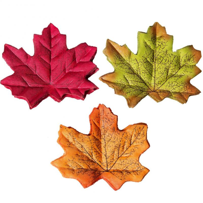 50 шт., кленовые листья из искусственного шелка