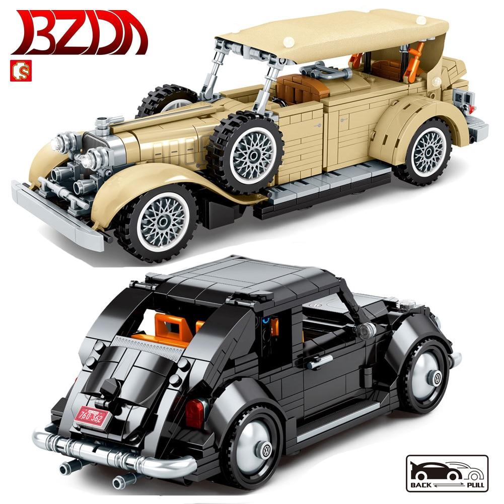 BZDA Creator Cars Buliding Blocks Retro Classic  Vehicle Pull Back Car Toys Models  Speed Champion Bricks  Kids Children's Gifts