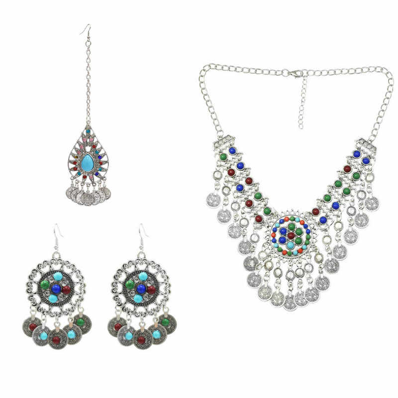 Bohemian Ethnic Silver Resin Bead Indian Necklace Jewellery Set