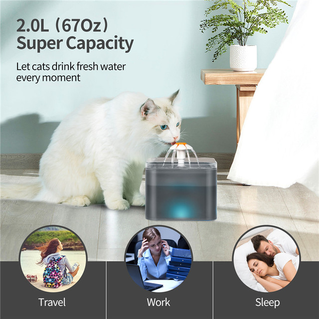Automatic Pet Water Drinking Dispenser Fountain With LED Level Display  5