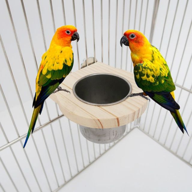 Bird Feeding Cups with Clamp Parrot Cage Hanging Bowl Stainless Steel Coop Dish 2