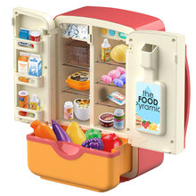 Children Pretend Play Toys Simulation Double Refrigerator Spray Refrigerator Educational Mini Kitchen Toys Role Playing Toy