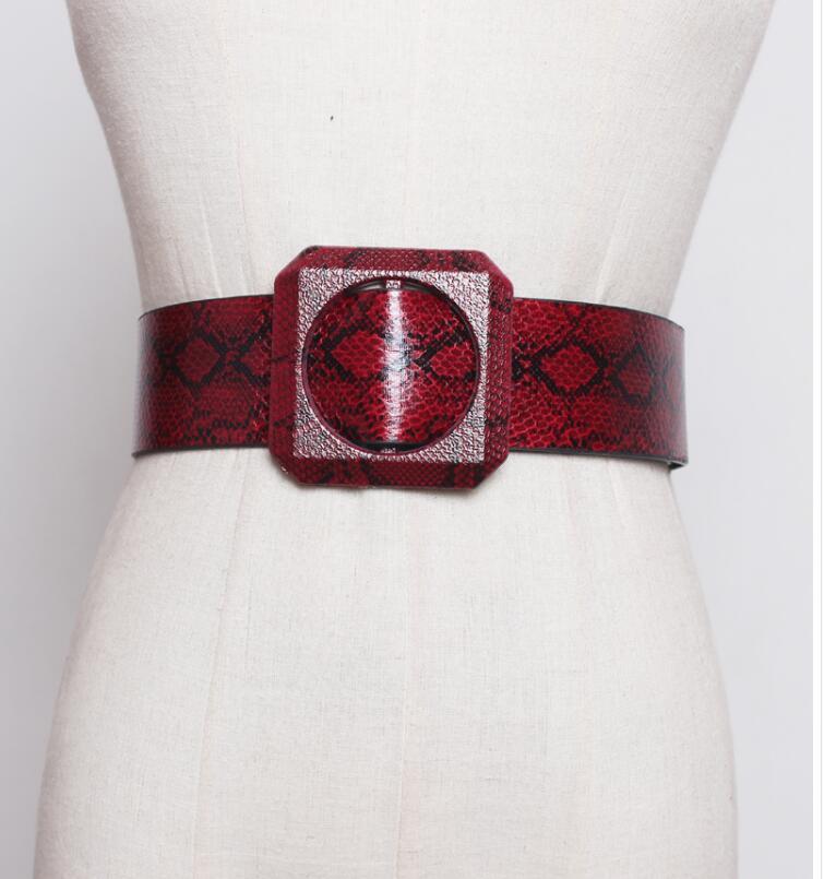 Women's Runway Fashion Snakeskin Print Pu Leather Cummerbunds Female Dress Corsets Waistband Belts Decoration Wide Belt R1880