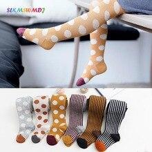 SLKMSWMDJ Fashion Leggings Autumn Winter New Cotton Double Needle Childrens Pantyhose Polka Dot Vertical Girl