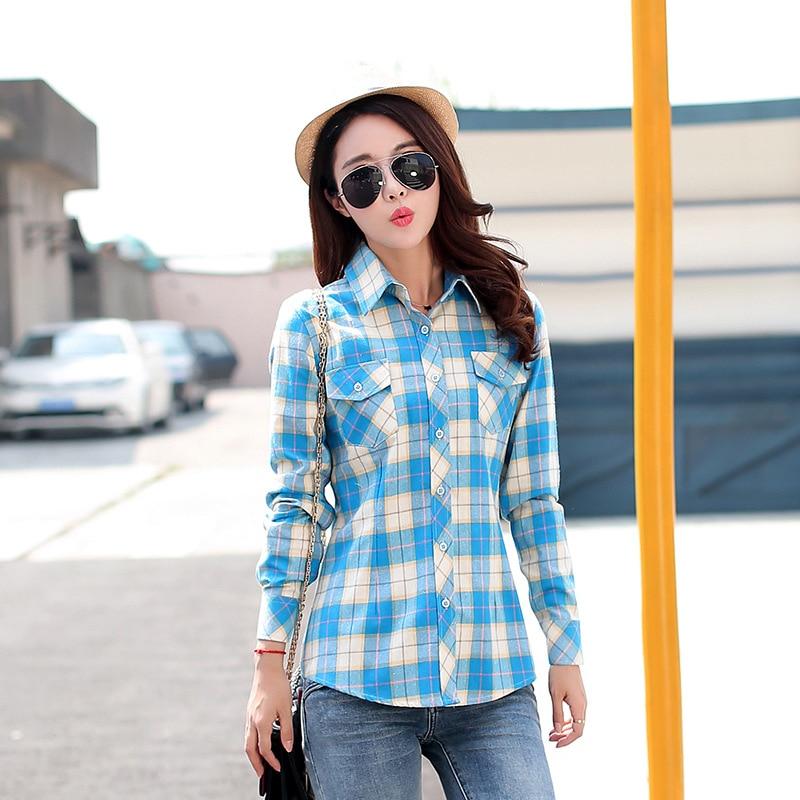 Autumn Spring Blouses Fashion Turn Down Collar Cotton Tops Women's Plaid Shirt Office Work Slim Long-Sleeve Shirts Blusas Mujer 13