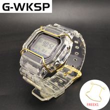 G WKSP DW5600/5610/6900 Silicone Watchband Replacement Rubber Strap Sports Waterproof Transparent Watch Band Bezel