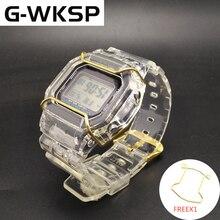G WKSP dw5600/5610/6900 silicone pulseira de borracha substituição cinta esportes à prova dwaterproof água transparente assista band bezel