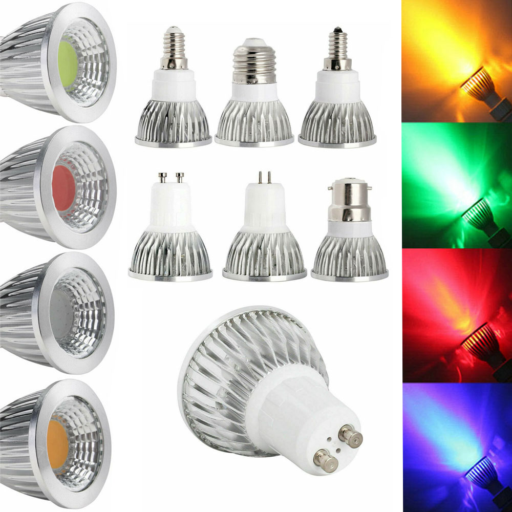 LED Light 6W 9W 12W COB GU5.3 GU10 E27 E14 E12 LED Dimming Sportlight Lamp High Power Bulb Red Green Blue Yellow AC 110V 220V