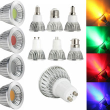 Światła LED 6W 9W 12W COB GU5.3 GU10 E27 E14 E12 LED ściemnianie oświetlenia sportowego wysokiej mocy lampy żarówka czerwony, zielony, niebieski, żółty, AC 110V 220V