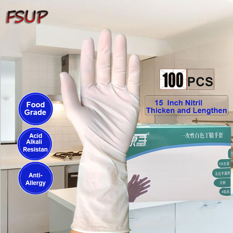 100 PC thickness and lenthe disposable nitrile Gloves work glove Food Prep Cooking Gloves / Kitchen Food Service Cleaning Gloves Safety Gloves     - title=