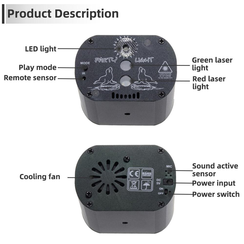 Image 5 - New LED disco light USB rechargeable RGB laser projection lamp with wireless controller effect stage lights party DJ KTV ball-in Stage Lighting Effect from Lights & Lighting