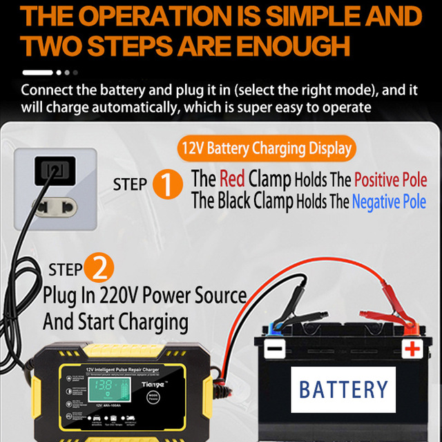 12V 6A Intelligent Car Motorcycle Battery Charger For Auto Moto Lead Acid AGM Gel VRLA Smart Charging 6A 12V Digital LCD Display|Car Battery Tester, Charging &  Repair Tools|   -
