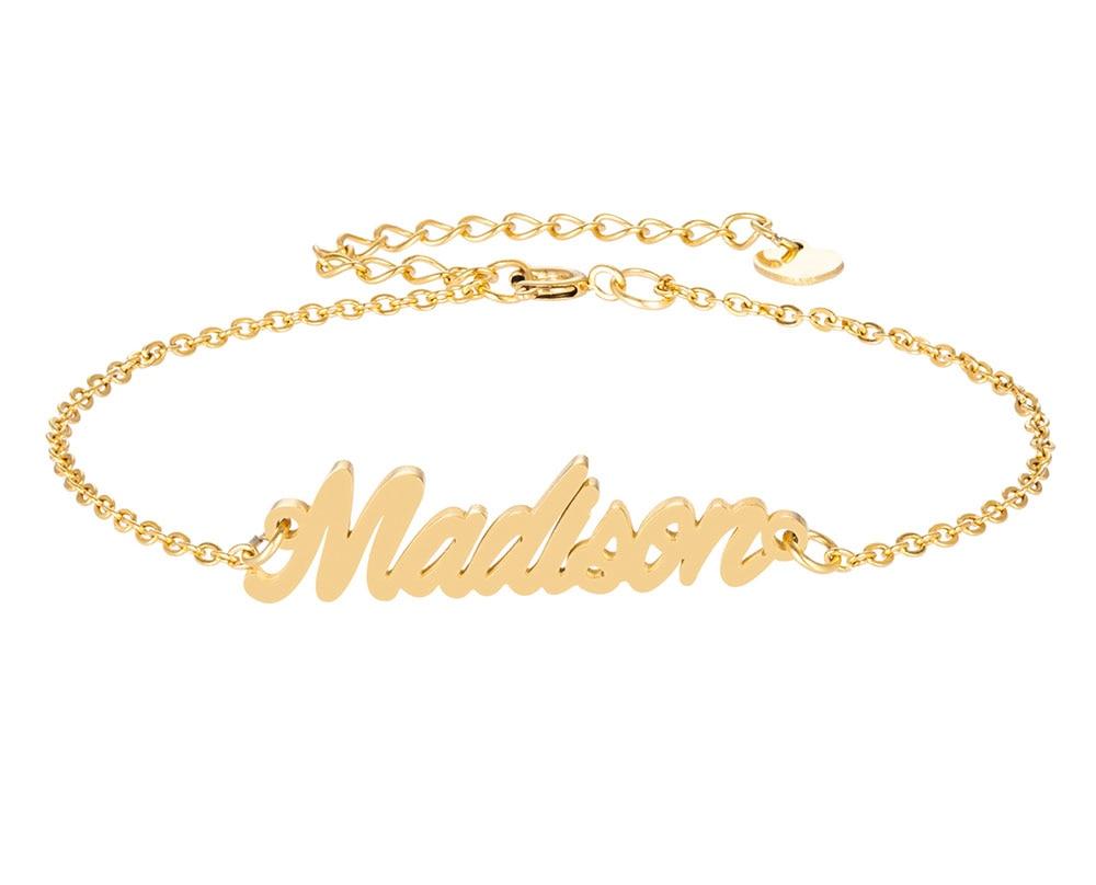 Madison имя браслет для женщин, ювелирные изделия для девушек, из нержавеющей стали, покрытой 18k позолоченный кулон-табличка с именем Femme Mother, по...