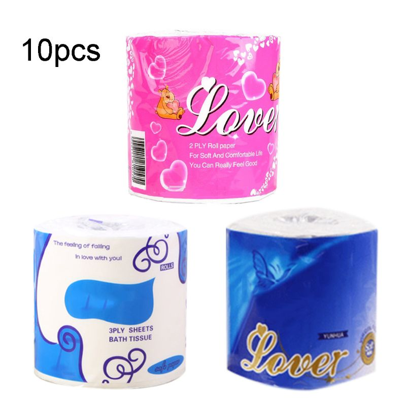 10 Rolls 3 Ply Home Toilet Paper Family Roll Paper For Hotel Housewarming Gifts