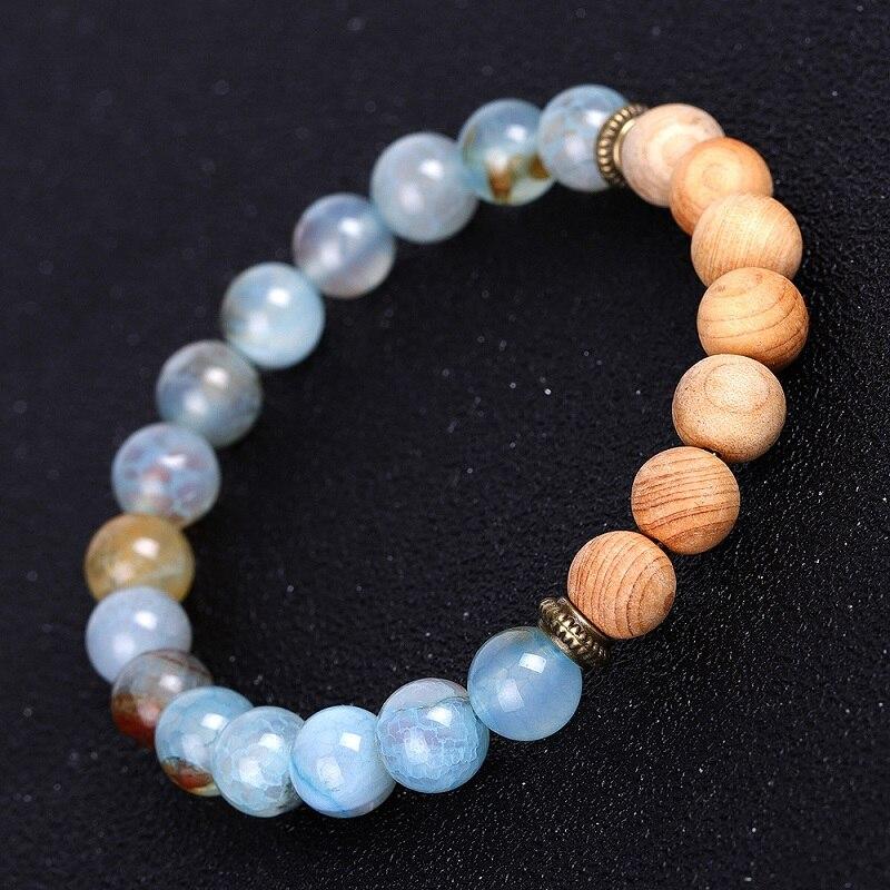 Natural Stone Lava Agates 8mm Wooden Beads Tassel Strand Bracelet Men or Women Bracelets Jewelry Wholesale TR559