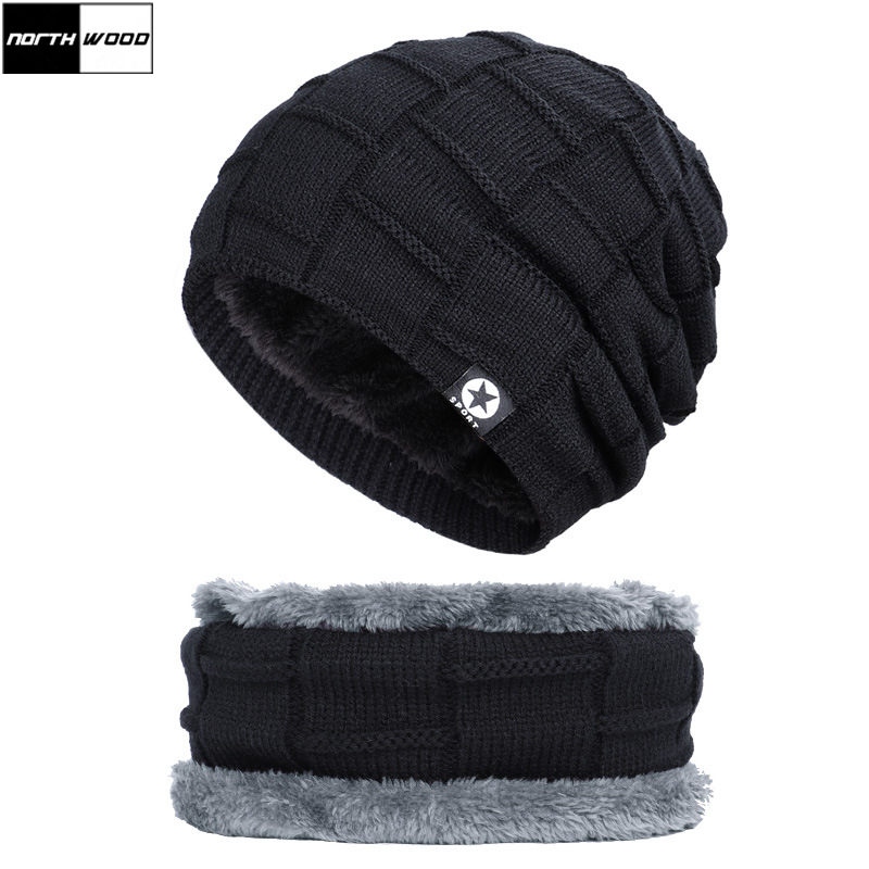 [NORTHWOOD] Brand 2020 New Winter Hats For Women Men Beanie Hat Thicken Warm Neck Scarf Cap Plus Velvet Knitted Hat For Adult