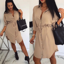 Women Casual A Line Sashes Mini Dress Solid Color Three Quarter Sleeve Front Button Elegant Sexy Women Dress Autumn Trendy Dress