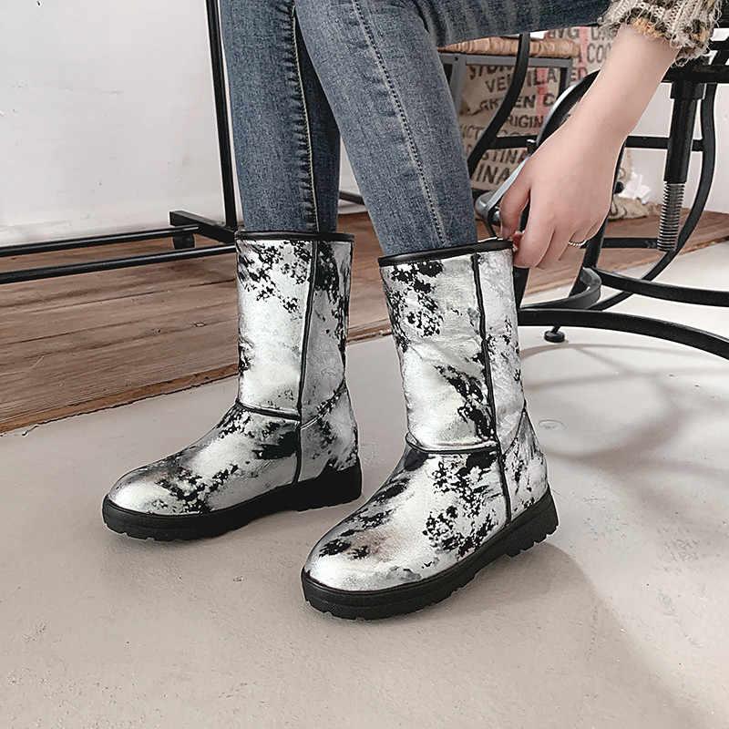 MoonMeek artı boyutu 34-48 moda orta buzağı botları kadınlar yuvarlak ayak düz bayan kışlık botlar rahat tutmak sıcak kar botları