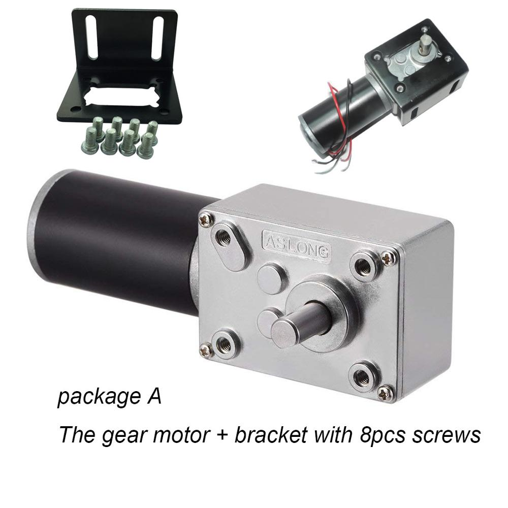 Worm Gear Motorkit With Brake CW/CCW 24v 12v brushed <font><b>dc</b></font> <font><b>motor</b></font> with right angel recuder L-Type <font><b>motor</b></font> bracket speed controller image