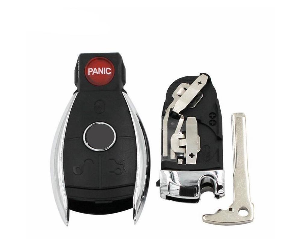 3 + 1 botão remoto caso chave do carro escudo para mercedes benz sem corte substituição vazio escudo 3 + 1 com bateria braçadeira titular