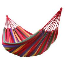 Hot Sale rainbow Outdoor Leisure Double collapsible canvas Hammocks Ultralight Camping Hammock with backpack double tassel canvas backpack