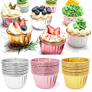 50pcs Cupcake Paper Cup Oilproof Liner Baking Tray Case Wedding Party Caissettes Golden Muffin  Wrapper - discount item  30% OFF Kitchen,Dining & Bar